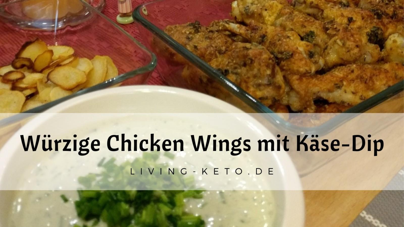 Würzig panierte Chicken Wings mit Käse-Dip