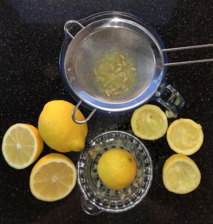 Schale der Zitronen abreiben, anschließend auspressen